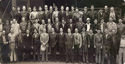 Our founder Earle M. Jorgensen pictured holding his popular white hat with the Los Angeles/Lynwood crew during the forties.